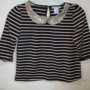 Other - Chelsea Girls Brown&white StripedTee w/gold collar